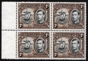 Grenada KGVI 1938 1d Black Sepia SG154a Mint Never Hinged Block x 4 MNH