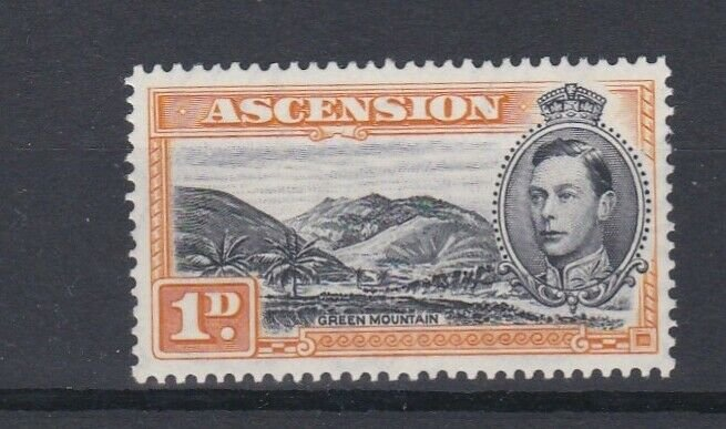 ASCENSION  1938  S G 39A 1D BLACK  & YELLOW ORANGE PERF 131/2 MNH