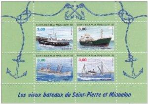 St. Pierre & Miquelon 1999, Souvenir Sheet, Ships & Boats Sc # 628, VF MNH**