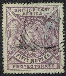 BRITISH EAST AFRICA 1897 QV LIONS 50R SPECIMEN REMOVED FAKE POSTMARK