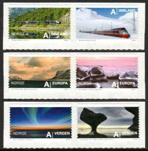 2009 Norway 1680-1685Paar Train, Rocky Coast, Northern Lights 15,00 €