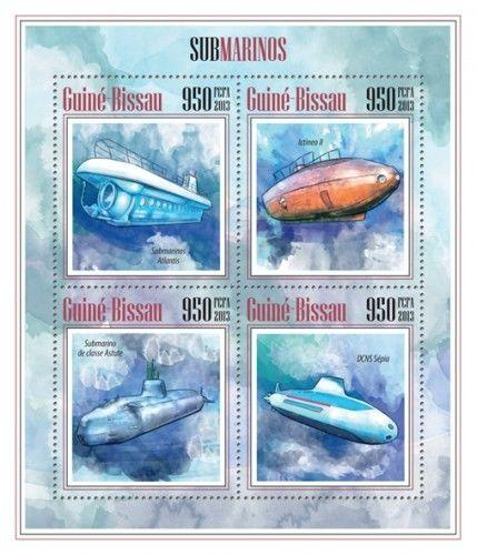 Submarines Military Boats U-Boot Transport Guinea-Bissau MNH stamp sheet