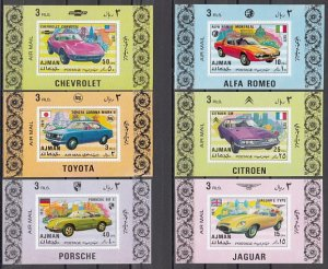 Ajman, Mi cat. 1169-1174 C. Automobiles issue as Deluxe s/sheets. ^