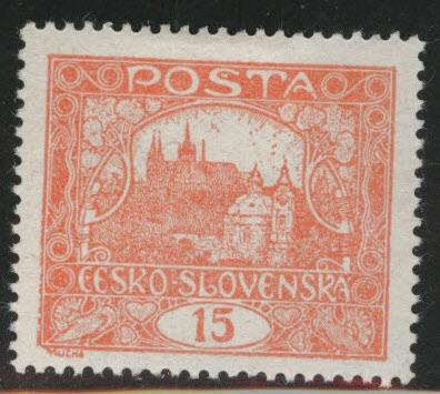 CZECHOSLOVAKIA Scott 44g MH* vemillion red perforated