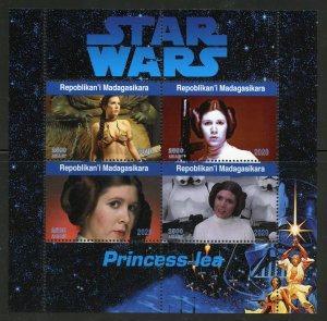 Madagascar 2020:  Star Wars Princess Lea sheet of four mint never hinged