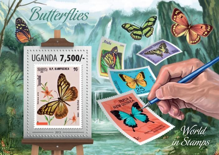 UGANDA 2013 SHEET BUTTERFLIES INSECTS STAMPS ON STAMPS ugn13301b