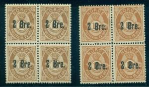 NORWAY #46a (47b) 2ore on 12ore Bister Brown shade, Block of 4, og, NH, VF
