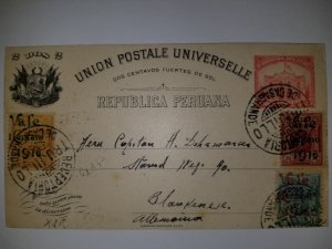 J) 1898 PERU, POST AND TELEGRAPH BUILDING LIMA, MULTIPLE STAMPS, POSTAL STATIONA