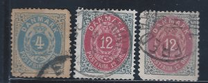 DENMARK #26C,29,29A USED  SCV $28.00 STARTS @25% OF CAT VALUE