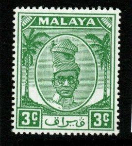 MALAYA PERAK SG130 1950 3c GREEN MNH