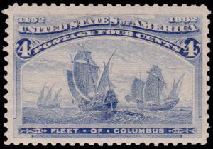 United States Scott 233 (1893) Mint H F-VF, CV $50.00