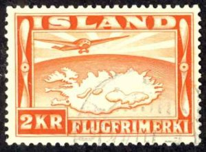 Iceland Sc# C20 Used 1934 2k Air Mail