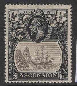 ASCENSION SG10a 1924 ½d GREY-BLACK & BLACK BROKEN MAINMAST MTD MINT