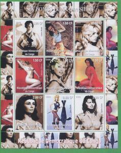 Sex Bombs of the Century Nude Marilyn Monroe Souvenir Stamp Sheet Congo E11