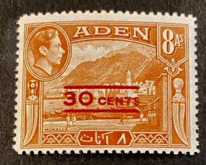 Aden Scott 40 30 Cent Overprint-Mint NH