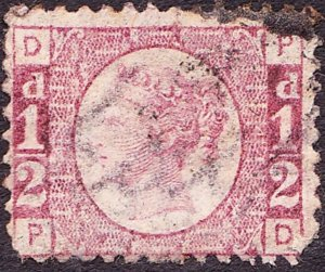 GREAT BRITAIN 1870 QV ½d Rose Plate 4 SG49 Used