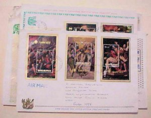 COOK ISLANDS  6 DIFF.   FDC SHEETLETS 1968-1978   CACHET ADDRESSED