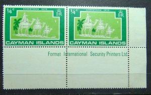 CAYMAN ISLANDS 1970 SC# 277 Christmas Gutter Sniper Pair MNH