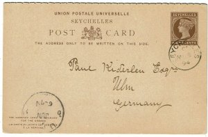 Seychelles 1894 8c postal reply card used to Germany