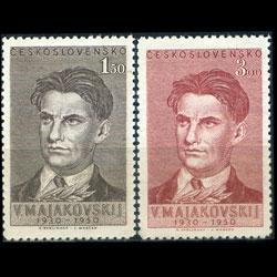 CZECH 1950 - Scott# 404-5 Poet Mayakovsky Set of 2 LH