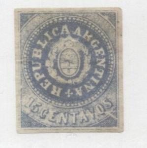 Argentina 1862 Coat of arms, 15C, Mi.7II, c/v 7000 euro, MLH AM.144