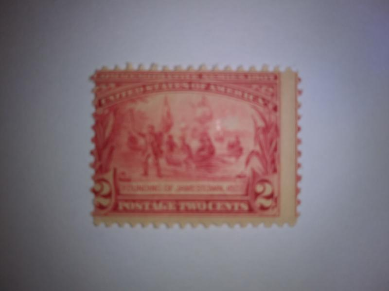 SCOTT # 329 EFO MIS-PERF JAMESTOWN FOUNDING ISSUE MINT NEVER HINGED GEM