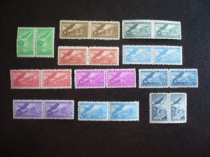 Stamps - Cuba - Scott# C96-C106 - Mint Hinged Set of 11 Stamps in Pairs