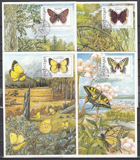 Sweden, Scott cat. 2020-2023. Butterflies issue on Maximum Cards.