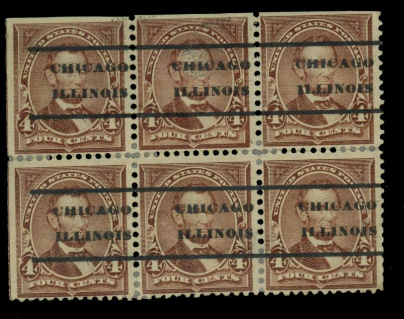 280 Used Block of 6 w Double Transfer Chicago Prec.
