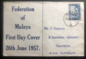 1957 Penang Malaya First Day Cover FDC To Australia Federation Anniversary