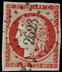 France Sc #7a Used VF hr SCV$500...French Stamps are Iconic!