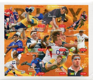 Sao Tome & Principe 2004 RUGBY PLAYERS Sheet+Labels Imperforated Mint (NH)