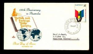 Australia 1967 Bible Society FDC - N589