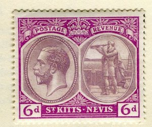 ST. KITTS; 1925-29 early GV portrait issue Mint hinged 6d. value