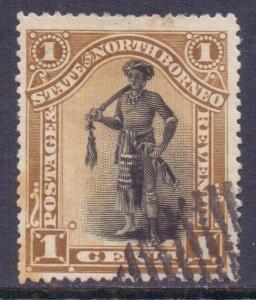 North Borneo Scott 59 - SG66, 1894 Dyak Chief 1c used