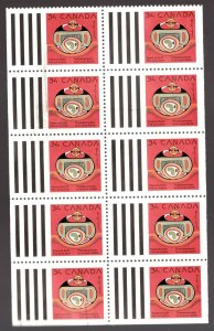 #1297a - Canada - 1990 - Used Booklet Pane - Jackson Beardy - superfleas - cv$13