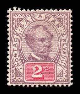 Sarawak 1888 2c purple & carmine SG 9 mint