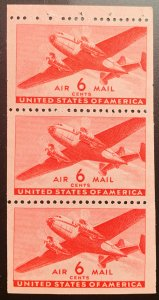 Scott C39a Booklet pane (3 stamps).  MNH.