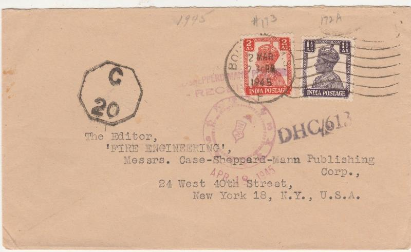 INDIA 1945 KGVI TAXED CENSOR? COVER TO USA