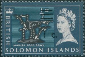 Solomon Islands 1966 SG135 1c on ½d Makira Food Bowl MNH