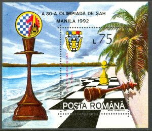 ROMANIA 1992 CHESS OLYMPIAD Manila Philippines Souvenir Sheet Sc 3748 MNH