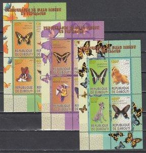 Djibouti, 2009 Cinderella item. Disney & Butterflies, 3 sheets of 4. ^