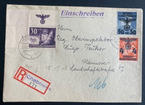 1940 Chabowka GG Poland Germany Registered Cover To Hannover