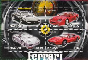 Malawi 2012 M/S Ferrari Racing Cars Classic Car Transport Sports Stamps MNH (2)