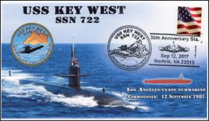 17-308, 2017,USS Key West, Event Cover, Pictorial Postmark, SSN-722