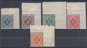 Wurttemberg Sc O1/O6 MNH. 1875-1900 Officials, Choice Sheet Corner Matched