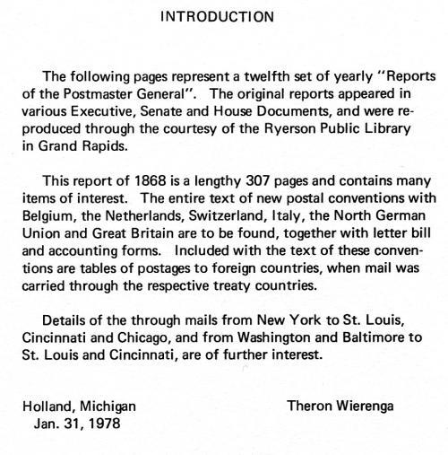 Book - US 1868 Report of the Postmaster General, Wierenga