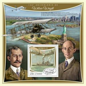 St Thomas - 2017 Aviator Wilbur Wright - Souvenir Sheet - ST17516b