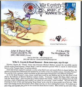 Fun Pugh Designed/Painted Wile Coyote & Road Runner FDC.. 67 of 113 created!