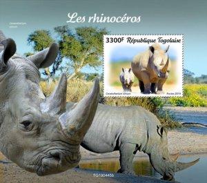 TOGO - 2019 - Rhinos - Perf Souv Sheet  - M N H